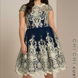 Baroque Embroidered Midi Cocktail Dress